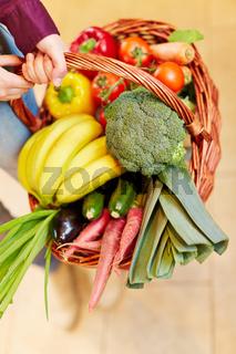 Einkaufskorb voller Gemüse von oben