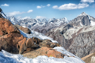 Dombai. Scenery of rockies in Caucasus region in Russia
