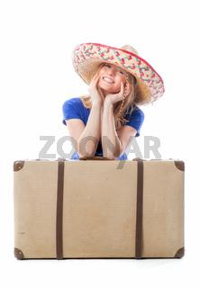 glückliche frau mit koffer