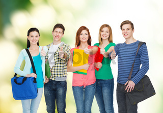 group of smiling students standing