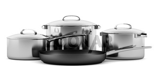 four cooking pans isolated on white background