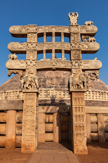 Great Stupa - ancient Buddhist monument. Sanchi