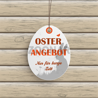 Osterangebot Egg Price Sticker Wood