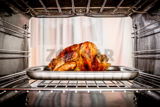 Roast chicken in the oven.