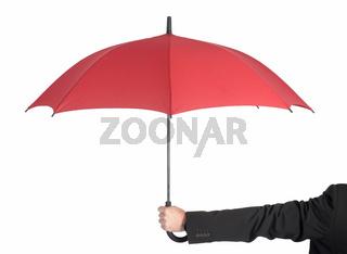 Mann haelt Schirm