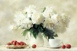 Still-life with a fresh strawberry and white peoni