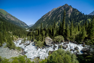 Wild water. Karakol river in Kyrgyzstan