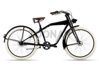 schwarzes Fahrrad vor weißem Hintergrund
