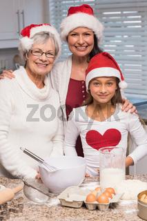 Multi-generation family baking together