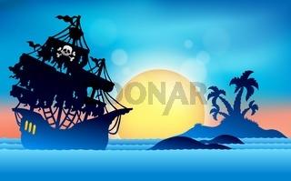 Pirate ship near small island 1 - picture illustration.