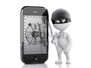 3d white people thief. Smartphone with safe door.