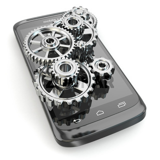 Settings of mobile phone. Gears on the screen.