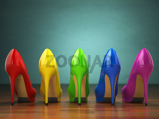 Choice of high heels shoes in different colors. Shopping concept.