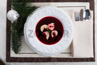 Borsch with dumplings