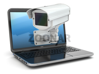 Internet security. Laptop and CCTV
