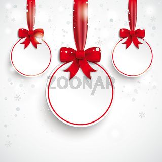 3 White Paper Bauble Red Ribbon Snowfall PiAd