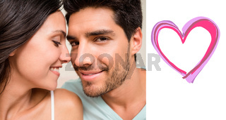 Composite image of attractive couple sitting on bed