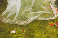 Detail of a Bride's Dress over a Grass Floor