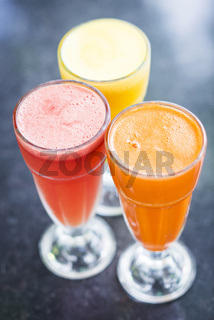 fresh orange carrot and watermelon fruit juice