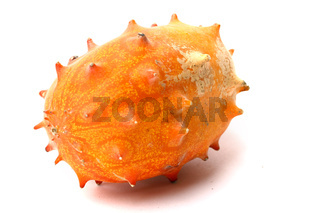 kiwano cucumis metuliferus on white background
