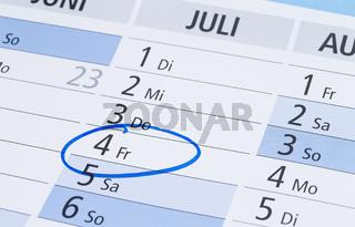 Kalendereintrag 4.Juli
