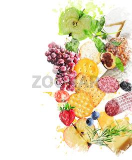 Watercolor Image Of  Healthy Snacks