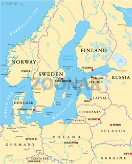 Ostsee-Areal politische Landkarte
