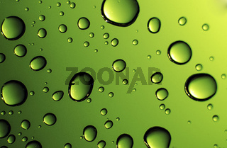 Water drops against green background