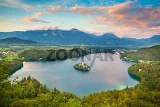 Bled Lake in Julian Alps, Slovenia.