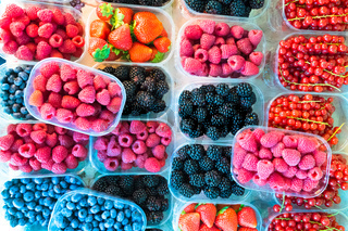 Berries in boxes.