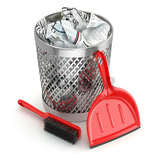 Cleaning concept.Garbage bin, dustpan or scoop and brush.