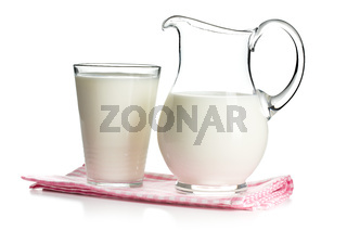 milk in glass and in pitcher
