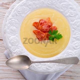 potato cream soup with chorizo and garlic
