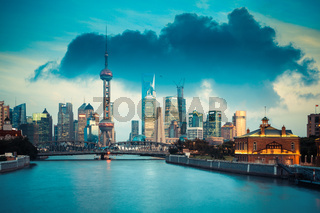 beautiful shanghai in dusk