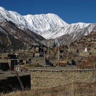 Village Khangsar and Tilicho Peak, Nepal