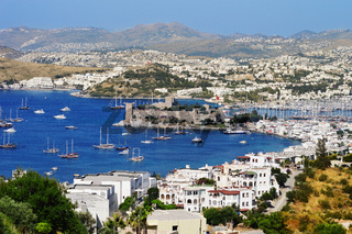 View of Bodrum harbor during hot summer day. Turkish Riviera.