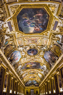 Large painting gallery at the Louvre museum in Paris