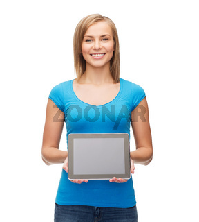 smiling girl with tablet pc computer