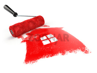 Construcrion concept.Roller brush with sign of house isolated on white.