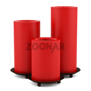 three red candles candlesticks isolated on white background