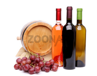 Composition of wine, wooden barrel and grape