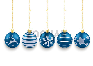5 Blue Christmas Baubles White Background