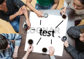 Test on page with people sitting around table drinking coffee