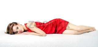 Sleeping Girl. isolated on white