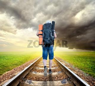 Tourist on the railroad