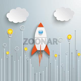 Rocket Startup Arrows Bulb Clouds PiAd