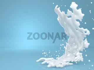 3d abstract white liquid splash