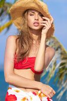 Sensual Pretty Woman in Summer Beach Outfit