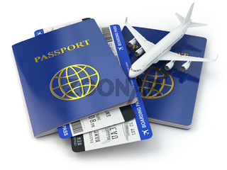 Travel concept. Passports, airline tickets and airplane.