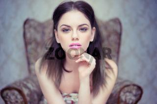 Beautiful dreamy young woman